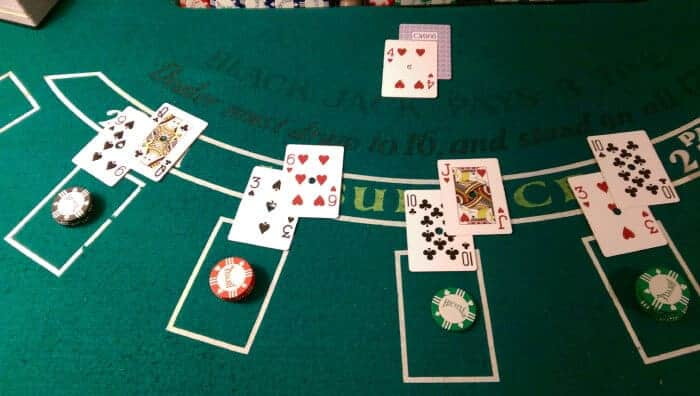 blackjack table with cards on it