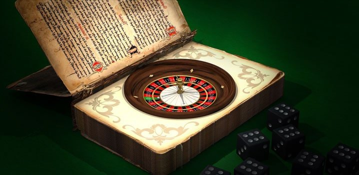 a book with roulette wheel inside of it