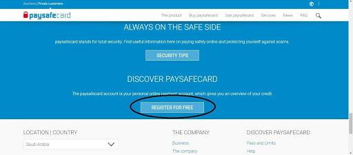 Register at Paysafecard